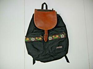 Vtg 90s JANSPORT Black/Brown Leather FLORAL RUCK-SACK Hiking School Backpack Bag