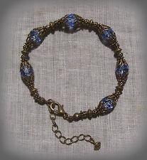 BRASS FILIGREE LT. SAPPHIRE BLUE CRYSTAL STRETCH BRACELET VICTORIAN EDWARDIAN