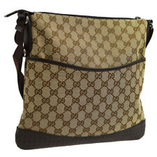 GUCCI GG Pattern Cross Body Shoulder Bag Brown Canvas Leather VTG AK35522g