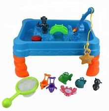 Childrens Sand & Water Play Table Bridge & Fishing Rod & Net Game Garden Toy 236