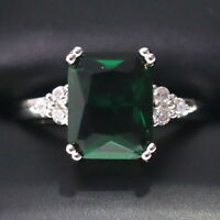 Sparkling Princess Green Emerald Ring Women Anniversary Jewelry 14K White Gold