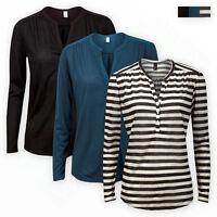 H&M Women Ladies Y-Neck Plain Stripe TOP Casual Long Sleeve Girls T-SHIRT Blouse