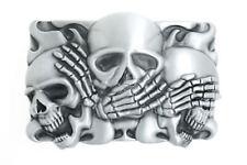 Hear No Evil, Speak No Evil, See No Evil Skulls Metal Belt Buckle