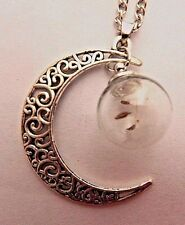 CRESCENT MOON & DANDELION SEED WISHING JAR NECKLACE silver filigree pendant E4