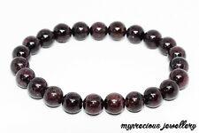 Natural Garnet  Bracelet Gemstone Elasticated Healing Stone Reiki Chakra UK