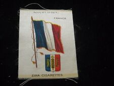 "Vintage Zira Cigarettes France French Flag w/ Crest Tobacco Card Silk 2.5"" X 5"""