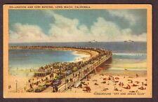 LONG BEACH CALIFORNIA LAGOON AND SURF BATHING SPIT AND ARGUE CLUB POSTCARD