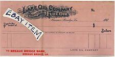1905 Breaux Bridge LOUISIANA Bank ChecK LAKE OIL COMPANY producers of FUEL OIL