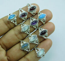 925 Plata Capa New Look Mix Gemstone100 Piezas Anillo Lot-109