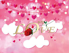 Valentine's Hanging Hearts Cloud Red Rose 7x5ft Vinyl Backdrop Photo Background