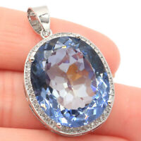25x20mm Special Big Oval Gemstone Fire Rainbow Violet Topaz Gift Silver Pendant