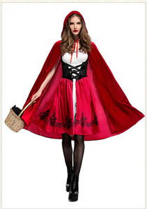 Adult Little Red Riding Hood Long Cape Party Dress Women Halloween Costume ZG9