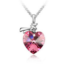 Pink Crystal Heart Pendant Necklace White Gold Plated Chain