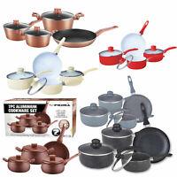 NONSTICK Cookware Set Frying Pot Saucepan / Pan Steel Ceramic Coated GLASS LID