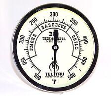 """Tel-Tru BQ500 Glow in the Dark BBQ Grill & Smoker Thermometer 5"""" Dial, 4"""" Stem"""