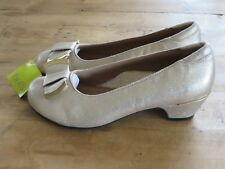 HOTTER SORRENTO COURTS VINTAGE PALE GOLD SHOES HEELS SIZE UK 3 EUR 36