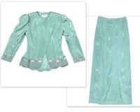 Noras Designs Womens XS Vintage Suit 2 Pc Set Outfit Skirt Blazer Luxury Modest