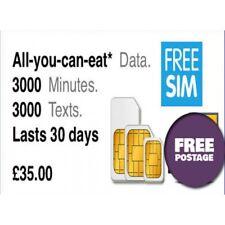 Three SIM Card £35 Preloaded wid Unlimited Data plan for 30days read description