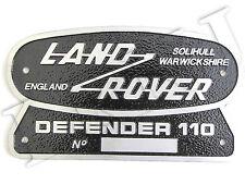 LAND ROVER DEFENDER 110 SOLID BADGE SOLIHULL WARWICKSHIRE BADGE ALUMINIUM PLATE