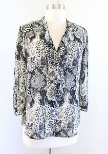 HD in Paris Anthropologie Picea Woodland Animal Owl Print Ruffle Blouse Top 00