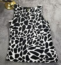 WDNY Womens Black & White Giraffe Animal Print Sleeveless Blouse Tank Top Sz 10