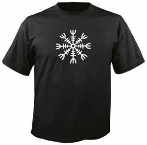 AEGISHJALMUR (HELM OF AWE) BLACK T SHIRT men's thor viking asatru rune odin tee