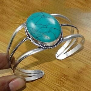 Turquoise 1 Piece Gemstone 925 Sterling Silver Plated Cuff Bracelet BN-15-342