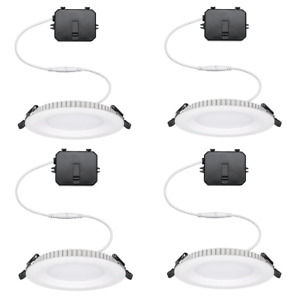Canless Recessed Downlight 4 in. Ultra-Slim-Trim Dimmable Retrofit Acrylic White
