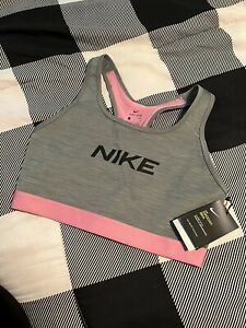 NIKE SWOOSH BRA Size Large Pink And grey Dri Fit Technology NEW NWT