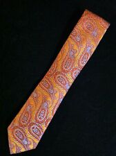 TED BAKER MENS NEW ORANGE PAISLEY 100%SILK CLASSIC NECK TIE WIDTH:3 1/4""