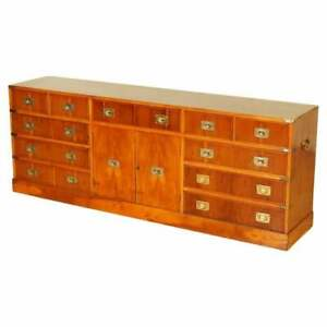 IMPRESSIVE BURR YEW WOOD & BRASS MILITARY CAMPAIGN SIDEBOARD CHEST OF DRAWERS