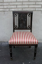 Outstanding 19th C. English Carved Vanity Desk Chair, New Red & Beige Uphosltery