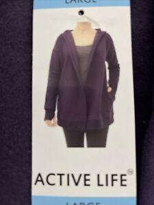 Active Life Casual Cardigan Tunic Hoodie Purple  Sweatshirt Material Pockets