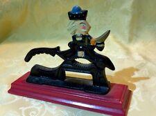 Cast Iron Handled Christmas Nutcracker w/ Wood Base Soldier Figural Nut Cracker