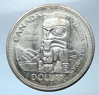 1958 Canada British Columbia Centennial Totem Pole Large Silver Coin i73878