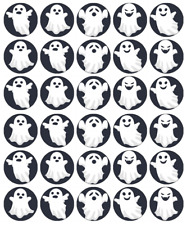 30x Halloween Kids Ghosts Cupcake Toppers Edible Wafer Paper Fairy Cake Toppers