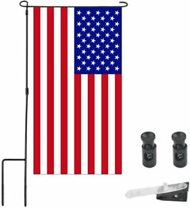 Garden Flag Stand Holder Pole with Stopper and Anti-Wind Clip Waterproof