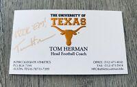 TOM HERMAN UT TEXAS LONGHORNS FOOTBALL COACH HOUSTON AUSTIN SIGNED BUSINESS CARD