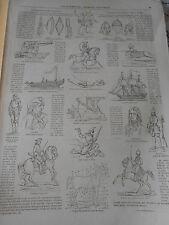 Gravure 1863 - Encyclopédie Militaire et Martitime