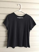 Motto Essentials women's Large black basic short sleeve round neck top / tee QVC