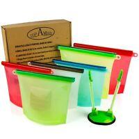 Reusable Silicone Food Saver Zip Bags – Eco Airtight Leak-Proof Dishwasher Mi...