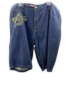 azzure mens blue jean shorts sz 54 embroidered green yellow stitching