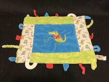 Maison Chic Alligator Security Blanket • Tags • Blue Green Patchwork Lovey Frog