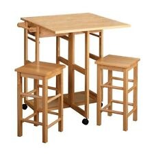 Winsome Space Saver Drop Leaf Table With 2 Square Stools Natural