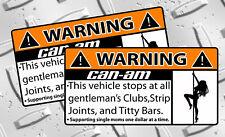 Can AM Strip Club Warning sticker Snowmobile sled ATV