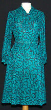VINTAGE LAZARUS EMERALD GREEN & BLACK 70's 80's SECRETARY DRESS + BELT 12