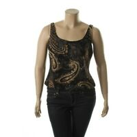Alex Evenings 2pc Black Metallic Printed Tank Top & Jacket Twinset Shirt - NEW