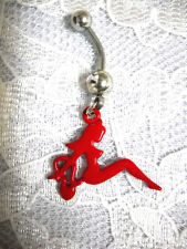 SEXY RED LADY OF LOVE - CLASSIC CHROME GIRL STYLE 14g CLEAR CZ BELLY BUTTON RING