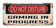 Do Not Disturb: Gaming in Progress | Vintage Metal Door Sign | Man Cave Decor