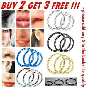 Nose Ring Surgical Steel Hoop Lip Ear Face Fake Septum Helix Small Body Piercing
